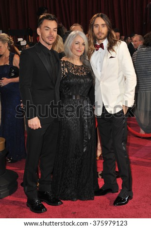 LOS ANGELES, CA - MARCH 2, 2014: Jared Leto & Constance Leto & Shannon Leto at the 86th Annual Academy Awards at the Dolby Theatre, Hollywood.