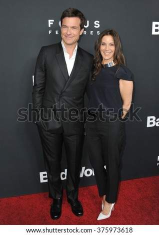 "LOS ANGELES, CA - MARCH 5, 2014: Jason Bateman & wife Amanda Anka at the Los Angeles premiere of his movie ""Bad Words"" at the Cinerama Dome, Hollywood."
