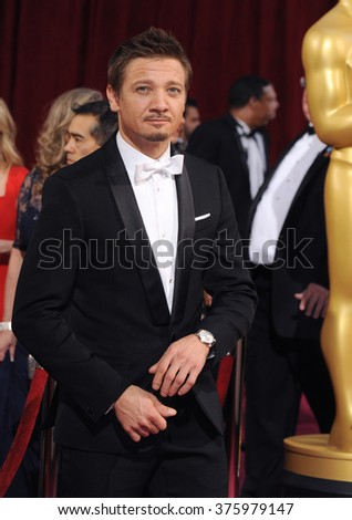 LOS ANGELES, CA - MARCH 2, 2014: Jeremy Renner at the 86th Annual Academy Awards at the Dolby Theatre, Hollywood.