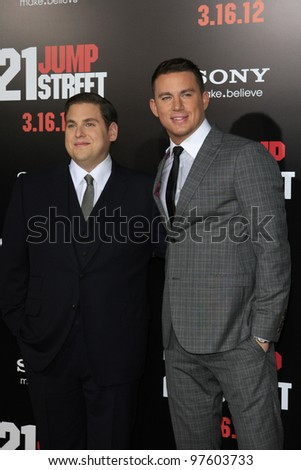 LOS ANGELES, CA - MARCH 13: Jonah Hill, Channing Tatum at the premiere of Columbia Pictures '21 Jump Street' held at Grauman's Chinese Theater on March 13, 2012 in Los Angeles, California