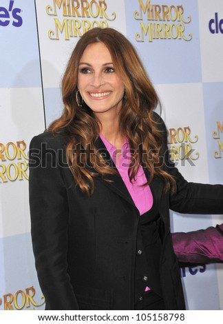 """LOS ANGELES, CA - MARCH 17, 2012: Julia Roberts at the world premiere of her new movie """"Mirror Mirror"""" at Grauman's Chinese Theatre, Hollywood. March 17, 2012  Los Angeles, CA - stock photo"""