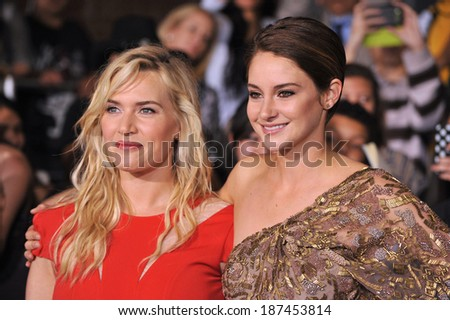 "LOS ANGELES, CA - MARCH 18, 2014: Kate Winslet & Shailene Woodley at the Los Angeles premiere of their movie ""Divergent"" at the Regency Bruin Theatre, Westwood.  - stock photo"