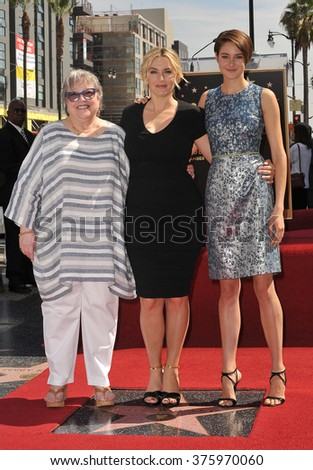 LOS ANGELES, CA - MARCH 17, 2014: Kate Winslet with Kathy Bates & Shailene Woodley (right) on Hollywood Blvd where Winslet is honored with the 2,520th star on the Hollywood Walk of Fame.  - stock photo