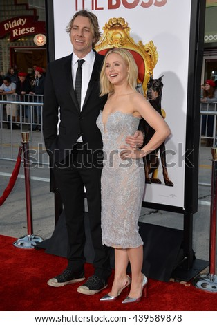 "LOS ANGELES, CA - MARCH 28, 2016: Kristen Bell & husband Dax Shepard at the premiere for her movie ""The Boss"" at the Regency Village Theatre, Westwood."