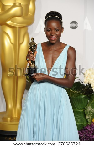 LOS ANGELES, CA - MARCH 2, 2014: Lupita Nyongo at the 86th Annual Academy Awards at the Dolby Theatre, Hollywood.  - stock photo