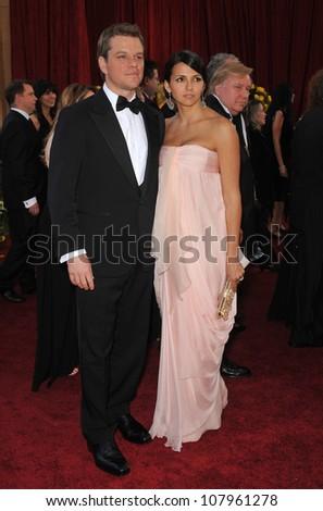LOS ANGELES, CA - MARCH 7, 2010: Matt Damon & Luciana Barroso at the 82nd Annual Academy Awards at the Kodak Theatre, Hollywood. - stock photo