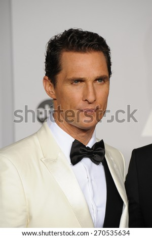 LOS ANGELES, CA - MARCH 2, 2014: Matthew McConaughey at the 86th Annual Academy Awards at the Dolby Theatre, Hollywood.  - stock photo