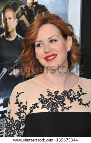 """LOS ANGELES, CA - MARCH 28, 2013: Molly Ringwald at the Los Angeles premiere of """"G.I. Joe: Retaliation"""" at the Chinese Theatre, Hollywood. - stock photo"""