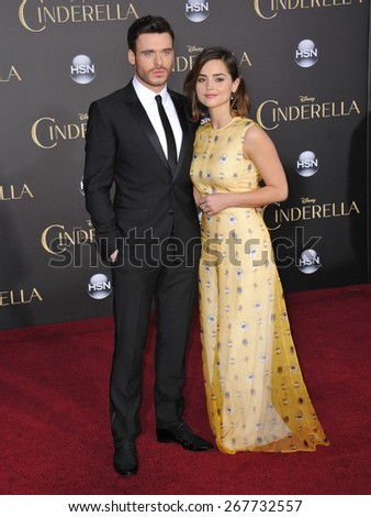 "LOS ANGELES, CA - MARCH 1, 2015: Richard Madden & actress girlfriend Jenna Coleman at the world premiere of his movie ""Cinderella"" at the El Capitan Theatre, Hollywood."