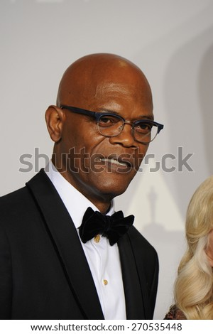 LOS ANGELES, CA - MARCH 2, 2014: Samuel L. Jackson at the 86th Annual Academy Awards at the Dolby Theatre, Hollywood.  - stock photo