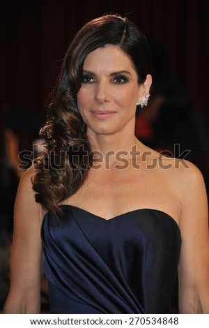 LOS ANGELES, CA - MARCH 2, 2014: Sandra Bullock  at the 86th Annual Academy Awards at the Hollywood & Highland Theatre, Hollywood.  - stock photo