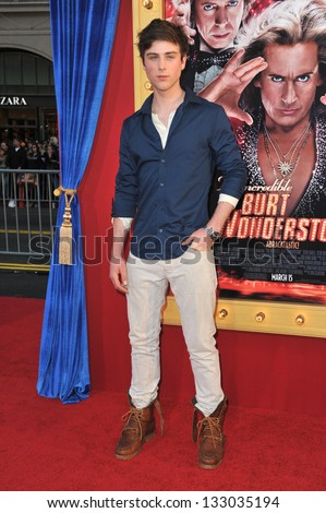 """LOS ANGELES, CA - MARCH 11, 2013: Sterling Beaumon at the world premiere of """"The Incredible Burt Wonderstone"""" at the Chinese Theatre, Hollywood. - stock photo"""
