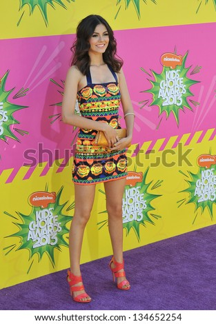 LOS ANGELES, CA - MARCH 23, 2013: Victoria Justice at Nickelodeon's 26th Annual Kids' Choice Awards at the Galen Centre, Los Angeles. - stock photo
