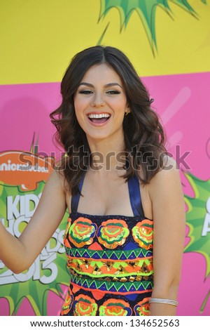 LOS ANGELES, CA - MARCH 23, 2013: Victoria Justice at Nickelodeon's 26th Annual Kids' Choice Awards at the Galen Centre, Los Angeles.