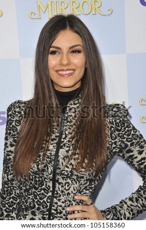 """LOS ANGELES, CA - MARCH 17, 2012: Victoria Justice at the world premiere of """"Mirror Mirror"""" at Grauman's Chinese Theatre, Hollywood. March 17, 2012  Los Angeles, CA - stock photo"""