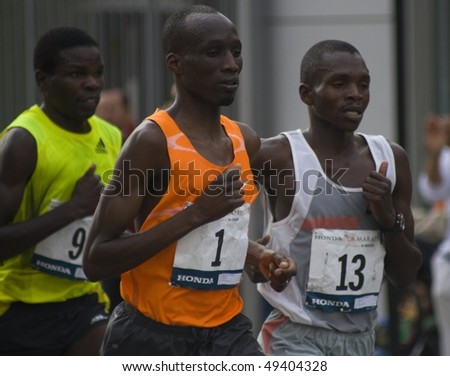 LOS ANGELES, CA - MARCH 22: Wesley Korir, rank #1, Sammy Kibet, rank#13, Paul Samoei, rank#3 at 2010 LA marathon on March 22, 2010 in Los Angeles, California. - stock photo