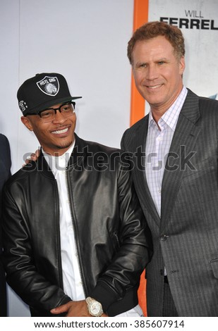 "LOS ANGELES, CA - MARCH 25, 2015: Will Ferrell & Tip ""T.I."" Harris at the Los Angeles premiere of their movie ""Get Hard"" at the TCL Chinese Theatre, Hollywood. - stock photo"