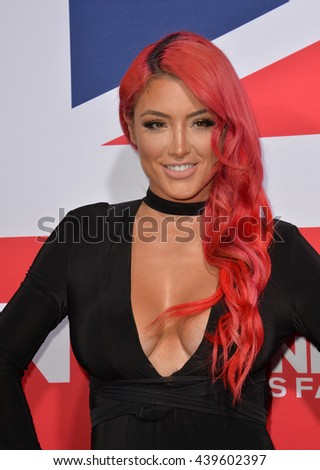 "LOS ANGELES, CA - MARCH 1, 2016: Wrestler & reality star Eva Marie at the Los Angeles premiere of ""London Has Fallen"" at the Cinerama Dome, Hollywood."