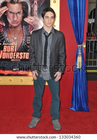 """LOS ANGELES, CA - MARCH 11, 2013: Zachary Gordon at the world premiere of """"The Incredible Burt Wonderstone"""" at the Chinese Theatre, Hollywood. - stock photo"""