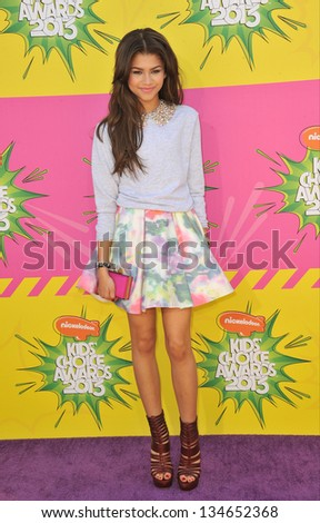 LOS ANGELES, CA - MARCH 23, 2013: Zendaya at Nickelodeon's 26th Annual Kids' Choice Awards at the Galen Centre, Los Angeles. - stock photo