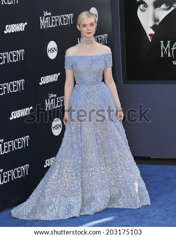"LOS ANGELES, CA - MAY 29, 2014: Elle Fanning at the world premiere of her movie ""Maleficent"" at the El Capitan Theatre, Hollywood."