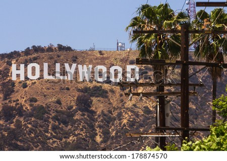 LOS ANGELES, CA -  MAY 27, 2013:  Hollywood sigh white letters located on Mount Lee  - stock photo
