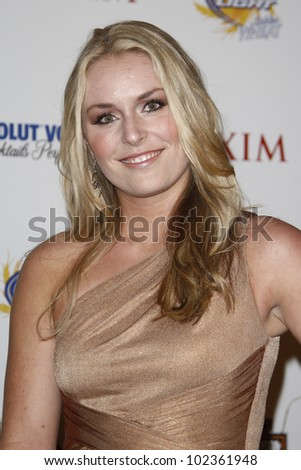 LOS ANGELES, CA - MAY 19: Lindsey Vonn arrives at the 11th annual Maxim Hot 100 Party at Paramount Studios on May 19, 2010 in Los Angeles, California - stock photo
