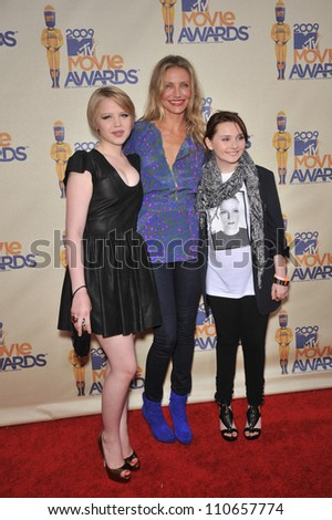 LOS ANGELES, CA - MAY 31, 2009: Sofia Vassilieva (left), Cameron Diaz & Abigail Breslin at the 2009 MTV Movie Awards at Universal Studios, Hollywood.