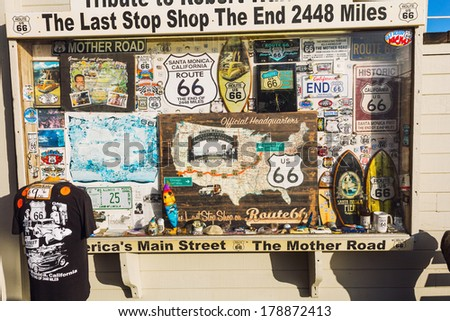 LOS ANGELES, CA -  MAY 27, 2013: Souvenirs of Route 66 displayed in the window case of a shop
