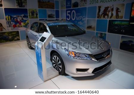 LOS ANGELES, CA - NOVEMBER 20: A Honda Accord Hybrid on exhibit at the Los Angeles Auto Show in Los Angeles, CA on November 20, 2013 - stock photo