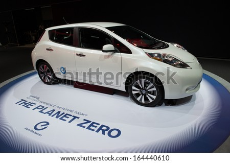 LOS ANGELES, CA - NOVEMBER 20: A Nissan Leaf zero emission vehicle on exhibit at the Los Angeles Auto Show in Los Angeles, CA on November 20, 2013 - stock photo