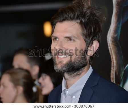 "LOS ANGELES, CA - NOVEMBER 30, 2015: Actor Adam Scott at the Los Angeles premiere of his movie ""Krampus"" at the Arclight Theatre, Hollywood."