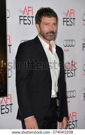 "LOS ANGELES, CA - NOVEMBER 9, 2015: Actor Antonio Banderas at the premiere of his movie ""The 33"", part of the AFI FEST 2015, at the TCL Chinese Theatre, Hollywood. 