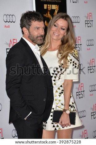 "LOS ANGELES, CA - NOVEMBER 9, 2015: Actor Antonio Banderas & girlfriend Nicole Kimpel at the premiere of his movie ""The 33"", part of the AFI FEST 2015, at the TCL Chinese Theatre"
