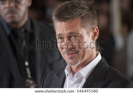 "LOS ANGELES, CA. November 9, 2016: Actor Brad Pitt at a special fan screening for ""Allied"" at the Regency Village Theatre, Westwood."