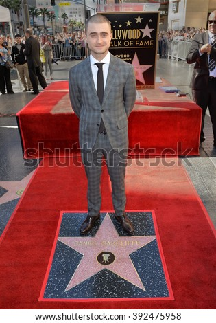 LOS ANGELES, CA - NOVEMBER 12, 2015: Actor Daniel Radcliffe on Hollywood Boulevard where actor he was honored with the 2,565th star on the Hollywood Walk of Fame - stock photo