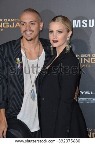"LOS ANGELES, CA - NOVEMBER 16, 2015: Actor Evan Ross & wife actress/singer Ashlee Simpson at the premiere of ""The Hunger Games: Mockingjay - Part 2"""