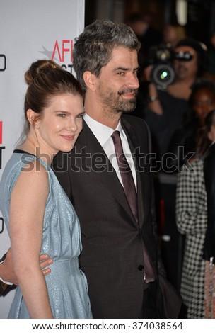 """LOS ANGELES, CA - NOVEMBER 12, 2015: Actor Hamish Linklater & actress Lily Rabe at the world premiere of """"The Big Short"""", the closing night gala screening of the AFI FEST 2015 at the Chinese Theatre  - stock photo"""