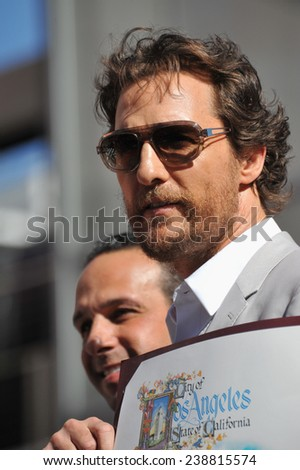 LOS ANGELES, CA - NOVEMBER 17, 2014: Actor Matthew McConaughey on Hollywood Boulevard where he was honored with the 2,534th star on the Hollywood Walk of Fame.  - stock photo