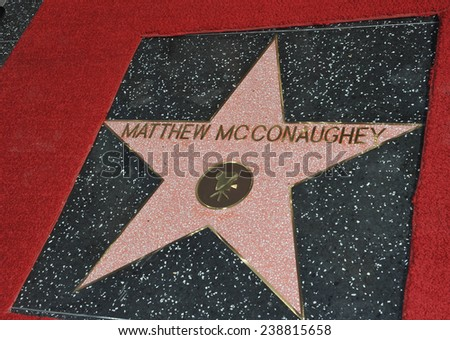LOS ANGELES, CA - NOVEMBER 17, 2014: Actor Matthew McConaughey's star on Hollywood Boulevard where he was honored with the 2,534th star on the Hollywood Walk of Fame.  - stock photo