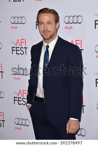 "LOS ANGELES, CA - NOVEMBER 12, 2015: Actor Ryan Gosling at the world premiere of his movie ""The Big Short"" at the TCL Chinese Theatre"