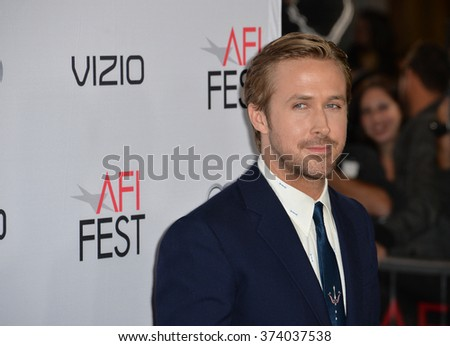 "LOS ANGELES, CA - NOVEMBER 12, 2015: Actor Ryan Gosling at the world premiere of ""The Big Short"", the closing night gala screening of the AFI FEST 2015 at the TCL Chinese Theatre, Hollywood.   - stock photo"