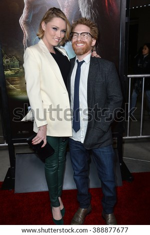 "LOS ANGELES, CA - NOVEMBER 30, 2015: Actor Seth Green & wife actress Clare Grant at the Los Angeles premiere of  ""Krampus"" at the Arclight Theatre, Hollywood."