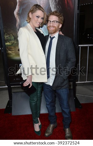 "LOS ANGELES, CA - NOVEMBER 30, 2015: Actor Seth Green & wife actress Clare Grant at the Los Angeles premiere of  ""Krampus"" at the Arclight Theatre, Hollywood"