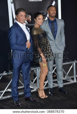 "LOS ANGELES, CA - NOVEMBER 19, 2015: Actors Sylvester Stallone & Michael B. Jordan & actress Tessa Thompson at the Los Angeles World premiere of ""Creed"" at the Regency Village Theatre, Westwood."