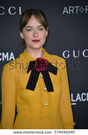 LOS ANGELES, CA - NOVEMBER 7, 2015: Actress Dakota Johnson at the 2015 LACMA Art+Film Gala at the Los Angeles County Museum of Art.