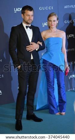 LOS ANGELES, CA - NOVEMBER 7, 2015: Actress Diane Kruger & actor husband Joshua Jackson at the 2015 LACMA Art+Film Gala at the Los Angeles County Museum of Art. - stock photo