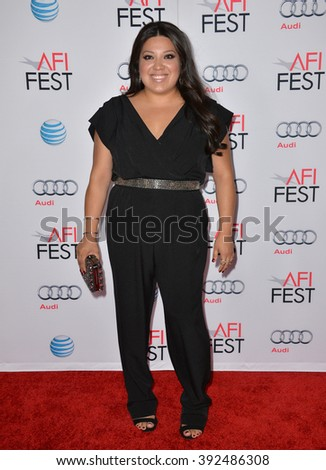"""LOS ANGELES, CA - NOVEMBER 9, 2015: Actress Elizabeth de Razzo at the premiere of her movie """"The 33"""", part of the AFI FEST 2015, at the TCL Chinese Theatre - stock photo"""