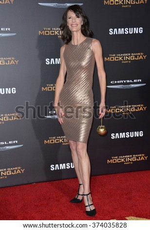"""LOS ANGELES, CA - NOVEMBER 16, 2015: Actress Eugenie Bondurant at the Los Angeles premiere of her movie """"The Hunger Games: Mockingjay - Part 2"""" at the Microsoft Theatre, LA Live.  - stock photo"""