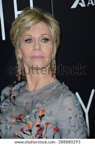 "LOS ANGELES, CA - NOVEMBER 17, 2015: Actress Jane Fonda at the Los Angeles premiere of her movie ""Youth"" at the Directors Guild of America."